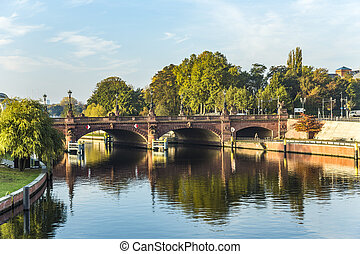 view to historic sandstone Moltke Bridge in Berlin, Germany