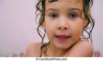 portrait of cute girl in bathroom - portrait of cute little...