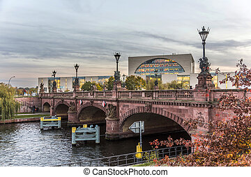 historic sandstone Moltke Bridge in Berlin - view to...