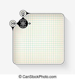 A white box for your text with graph paper and science icon