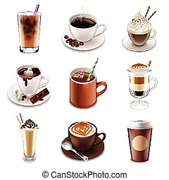 Coffee drinks icons vector set - Coffee drinks icons...