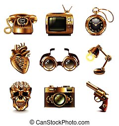 Steampunk icons vector set - Steampunk icons detailed photo...