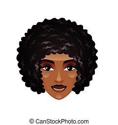 African girl face isolated on white vector - African girl...