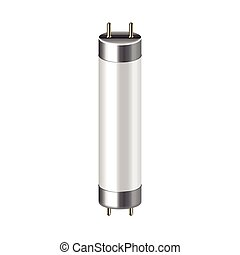 Fluorescent lamp isolated on white vector - Fluorescent lamp...