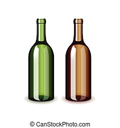 Two classic wine bottles isolated on white vector - Two...