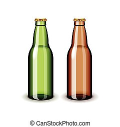 Two empty glass beer bottles isolated on white vector - Two...