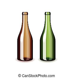 Two empty wine bottles isolated on white vector - Two empty...