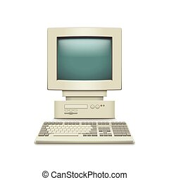 Vintage computer isolated on white vector - Vintage computer...