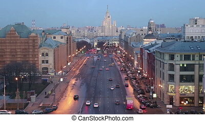 Night view of the Moscow from a high point (an observation...
