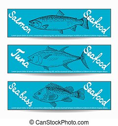 various fishes banners - Hand drawn sketch various fishes...