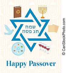 Happy Passover greeting card with torus, menorah, wine, matzoh, seder. Holiday Jewish exodus from Egypt. Pesach template for your design. Vector illustration.