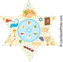 Passover greeting card with icons in the shape-stars. Pesach...