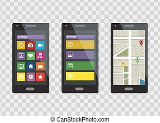 Smartphone set isolated on a transparent background. Vector...