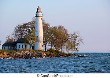 Pointe aux Barques Lighthouse, built in 1848, Lake Huron,...