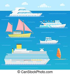 Water Transport with Ship, Liner, Boat and Windsurfer....
