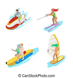 Isometric People on Water Activity. Woman Surfer, Water...