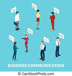 Isometric Business People Communication Concept. Vector 3d flat illustration