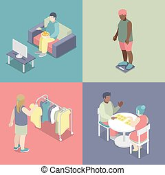 Isometric Fat People Set. Unhealthy Eating Concept. Vector...