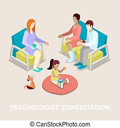 Isometric Psychologist Consultation. Family on...