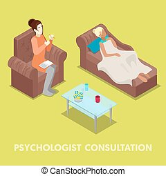 Isometric Psychologist Consultation. Woman on Psychotherapy....