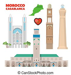 Morocco Casablanca Travel Set with Architecture and Flag. Vector illustration