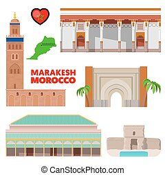 Morocco Marakesh Travel Set with Architecture and Flag. Vector illustration