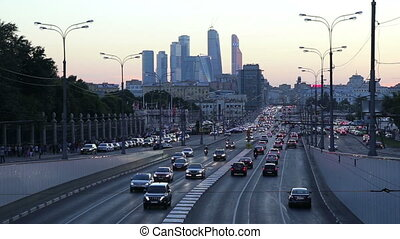 Traffic on the highway of big city (at night), Moscow,...