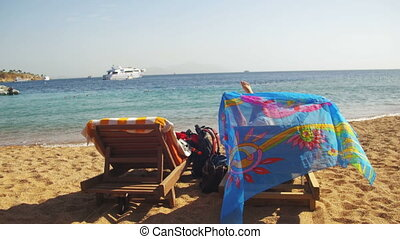 Rest on the Red Sea, the Girl on a Lounger Overlooking the...