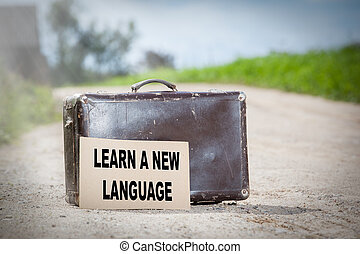 Learn a New Language. Old traveling suitcase on country...