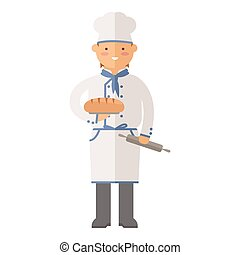 Beautiful young chef baker character vector. - Beautiful...