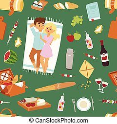 Barbecue resting picnic couple and vector seamless pattern -...