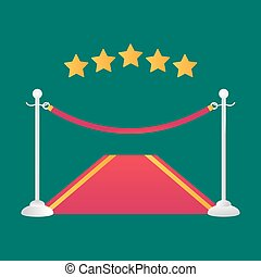 Red event carpet isolated vector illustration.
