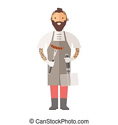 Butcher young chef decorating delicious character vector. -...