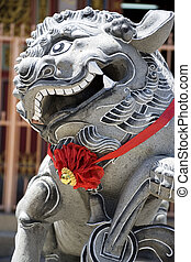 Chinese Temple Lion Guardian - Image of a Chinese temple...