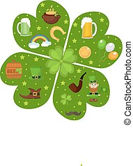 St. Patricks Day icon set in clover-shape design element....