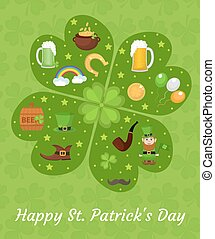 Happy St. Patricks Day greeting card template, invitation,...