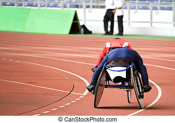 Wheel Chair Race - Image of disabled athletes competing in a...