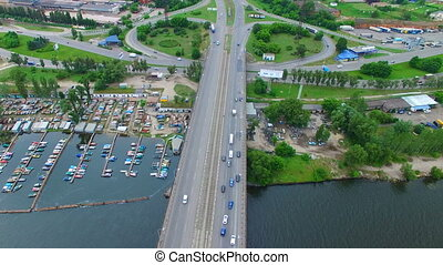 Aerial survey of a road bridge - Flying over the road bridge...