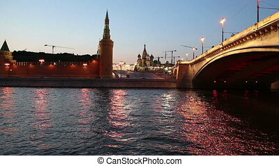Moskva River and Kremlin (at night),  Moscow, Russia