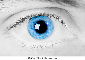Male eyes - open blue eye men Close-up with bright light