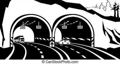 Highway tunnel in the mountains - vector illustration