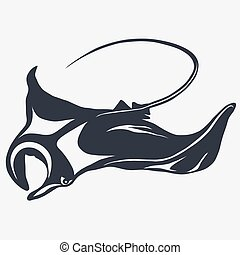 stingray vector logo - Stingray logo fish mascot in cartoon...
