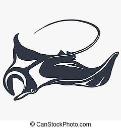 stingray vector logo - Stingray logo fish mascot in cartoon...