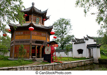 Chinese garden - The pagoda and pavilion of Chinese garden,...