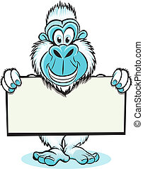 Yeti Holding sign: - Funny image of Yeti holding blank sign
