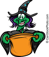 Halloween Witch Trick or Treating - Witch presenting an open...