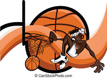 Slam Dunk Abstract - African American basketball player slam...
