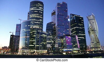 Skyscrapers International Business Center (City) at night,...