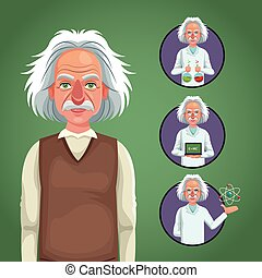 character scientist physical icons circle vector...
