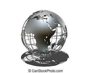 metal globe - 3d rendered illustration of a silver metal...